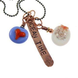 Ocean Time - Heart and Starfish Necklace by Janet Crosby