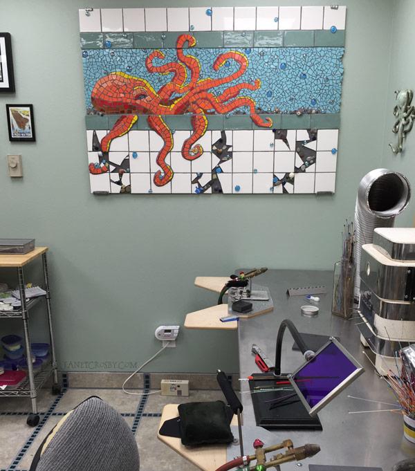Octopus Mosaic in Studio - JanetCrosby.com