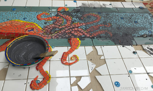 Octopus Mosaic Grout - www.janetcrosby.com