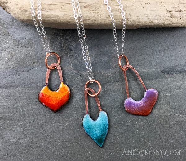 Enameled Heart Necklaces by Janet Crosby
