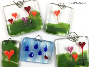 Heart Forests and Rain - Fused Glass Suncatchers by Janet Crosby
