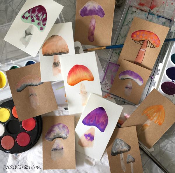 Watercolor Mushroom Cards by Janet Crosby