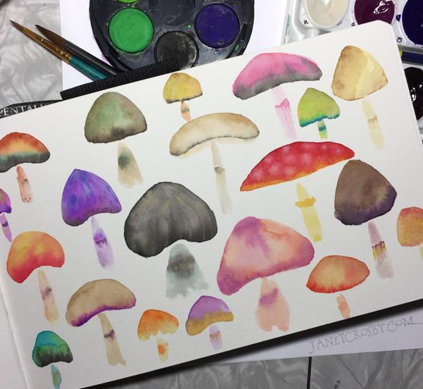 Watercolor Mushrooms by Janet Crosby