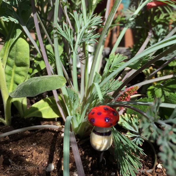 Mushroom Jewel Plant Stake by Janet Crosby