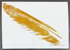 Hand-printed Feather Card - Gold