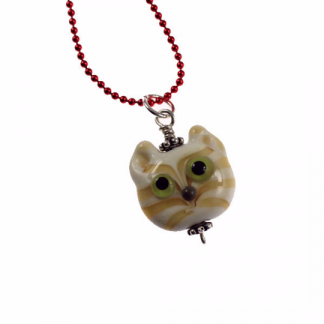 Cream Tabby Kitty Face Necklace by Janet Crosby