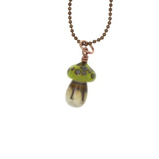 Green Mushroom Necklace by Janet Crosby