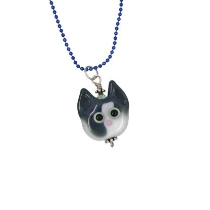 White Blaze Kitty Cat Face Necklace