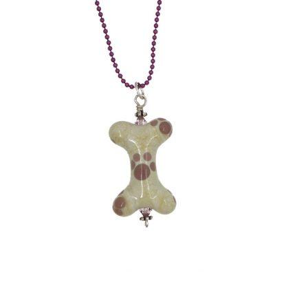 Lavender Paws Dog Bone Necklace - Janet Crosby