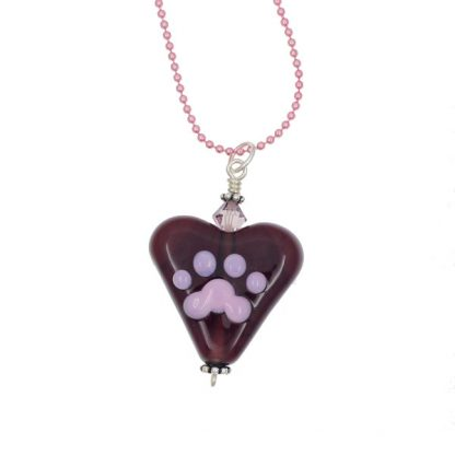 Pink Paw Purple Heart Necklace by Janet Crosby